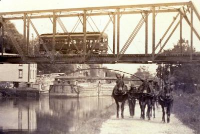 Boy and Mules on the Erie Canal Tow Path at Lyons, 1910