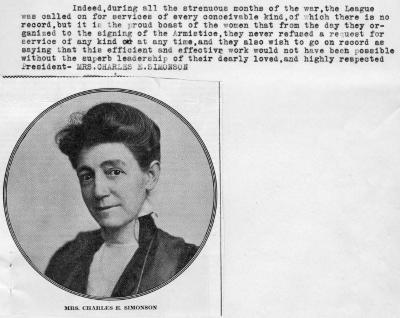 Mrs. Charles E. Simonson, President of a Support League