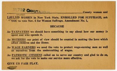 Women's Suffrage Card, Chautauqua County