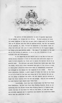 Governor Whitman's Proclamation about the New York State Boys Working Reserve