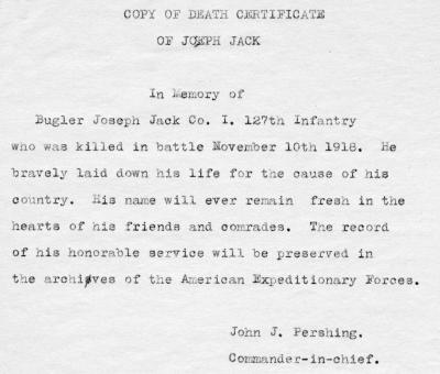 Death Certificate for Joseph Jack
