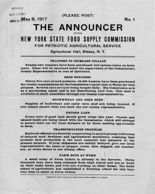 New York State Food Supply Commission Poster