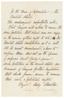 Petition from Elizabeth Cady Stanton