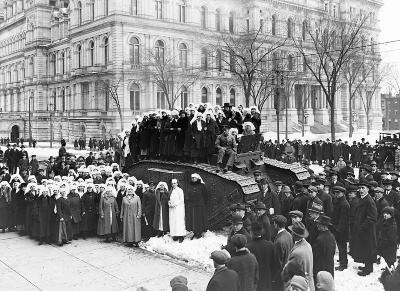 Women of the American Red Cross Auxiliary Standing on a Tank, Albany, NY