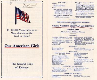 """YWCA Program, """"Our American Girls, The Second Line of Defence"""" Pamphlet"""