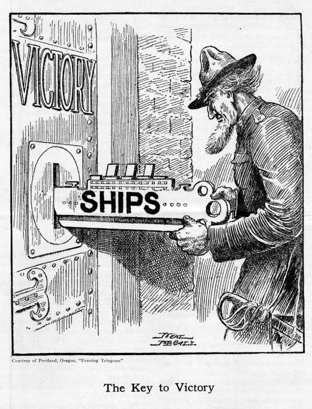 """""""The Key to Victory"""" Political Cartoon, World War I, c. 1917 page 1"""