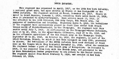 369th Regiment Harlem Hellfighters Unit Biography