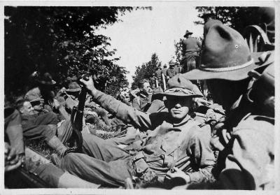 Soldiers Relax in a Trench
