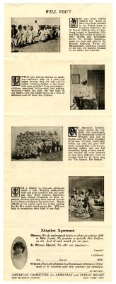 Armenian Relief Pamphlet and Adoption Agreement
