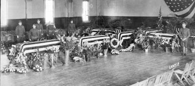 Coffins Laid Out in Elmira, NY