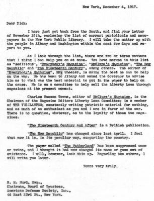 American Defense Society Letter Regarding Seditious Publications