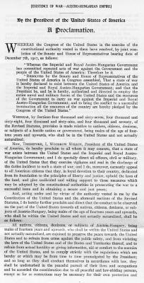War with Austria-Hungary, A Proclamation by President Woodrow Wilson