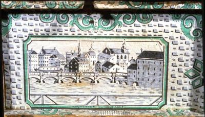 Wallpaper with Erie Canal Scene, 1825