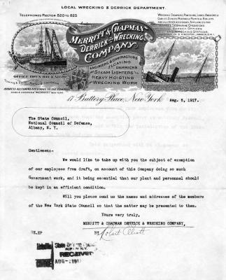 Letter to the National Council of Defense from Wrecking Company Inquiring about Draft Exemptions