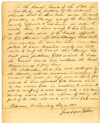 Letter from Henry Van Patten to the Erie Canal Board, 1829