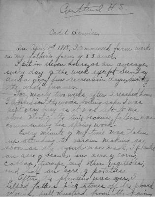 Ruth Shaw Farm Cadet Essay, Cortland High School