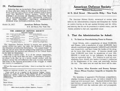 American Defense Society Pamphlet