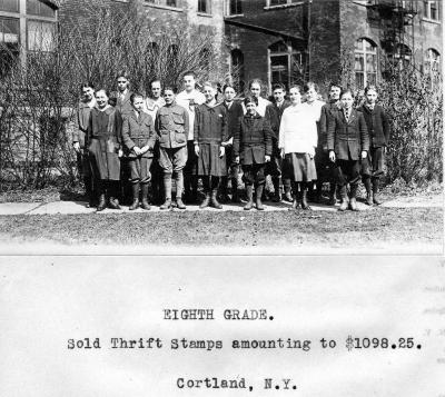 Cortland's 8th Grade Students Sell Thrift Stamps to Support the War Effort