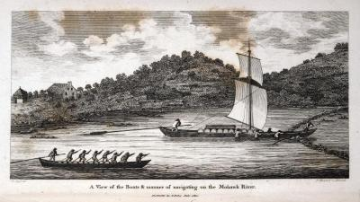 Engraving of a Durham Boat and a Bateau on the Mohawk River, 1810