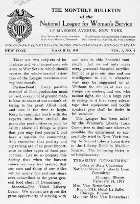 National League for Woman's Service Bulletin